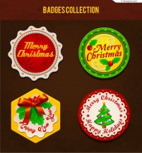 Beautiful Christmas sticker vector material