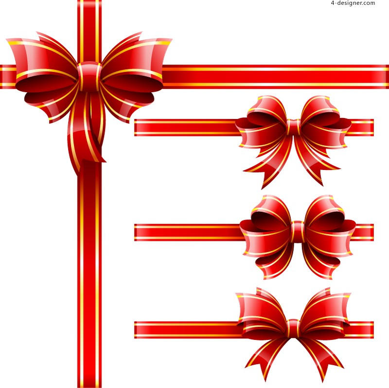Beautiful bow decoration design vector material