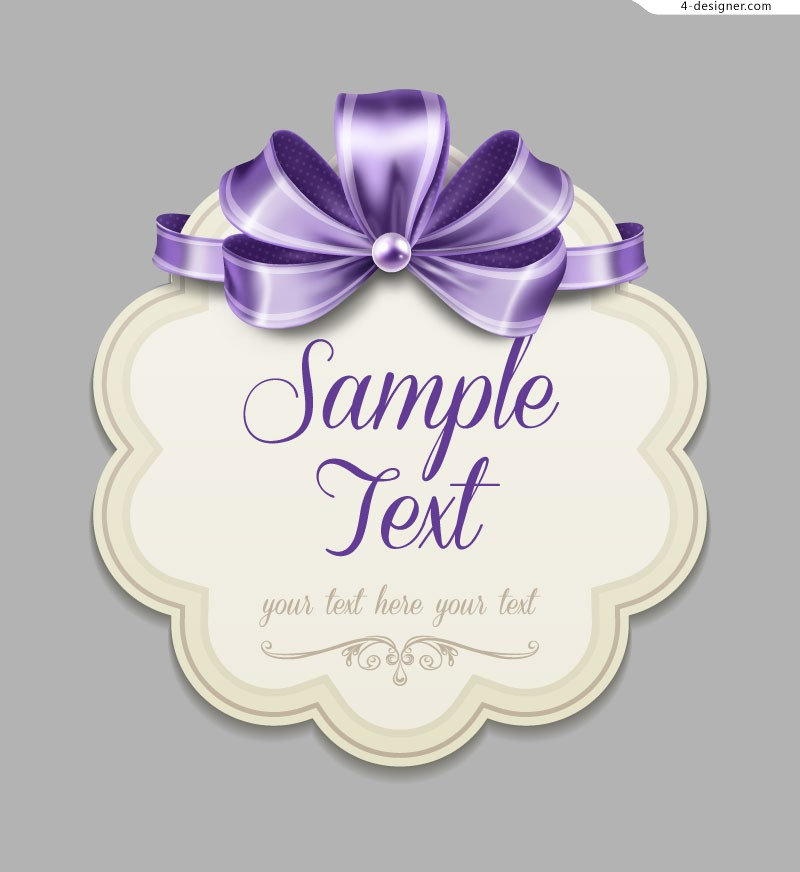 Beautiful purple bow label vector material
