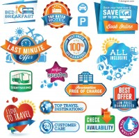 Blue European and American label vector material