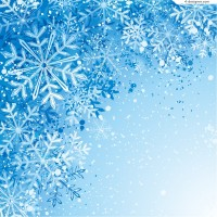 Blue flying snowflake background vector material