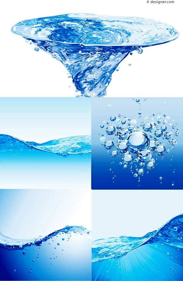 Charming blue water wave and water drop vector material
