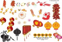 Chinese New Year fireworks lantern AI vector material