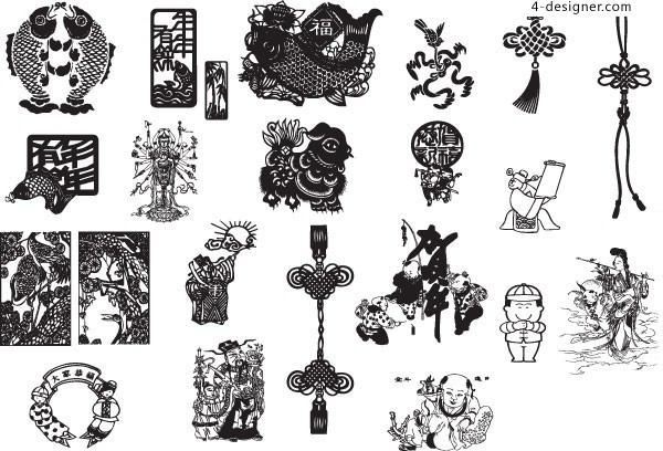 Chinese New Year paper cutting style door stickers AI vector material