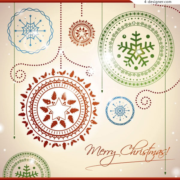 Christmas balls and exquisite patterns vector material