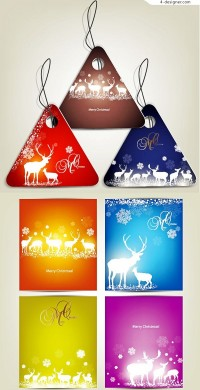 Christmas card with elk tag vector material