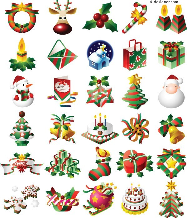 Christmas classic and practical icon set vector material