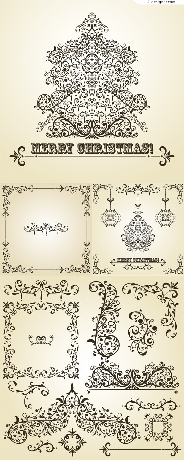 Christmas decorative patterns vector material