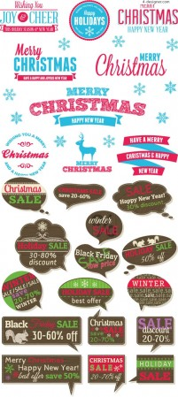 Christmas theme label vector material