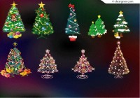 Christmas tree covered with lights vector material