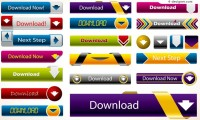 Colorful website download button vector material