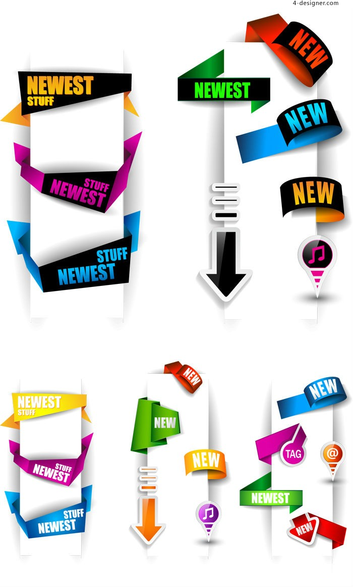 Colorful wraped label vector material