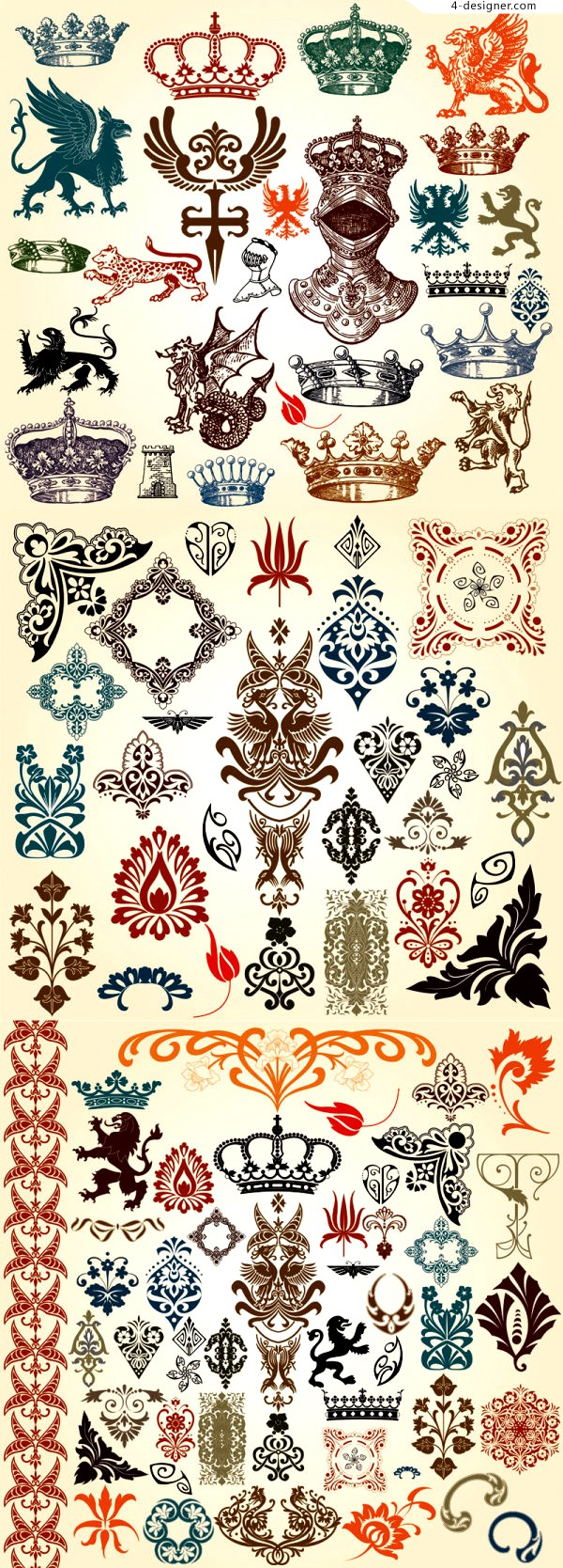 Common set of classic European pattern totem vector