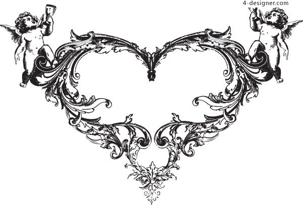 Cupid fashion heart shaped pattern vector material