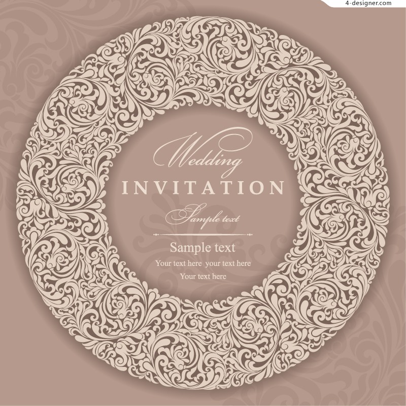 4 Designer Elegant Wedding Invitation Card Vector Material