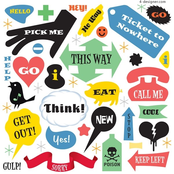 Everyday language label vector material