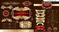 Exquisite ribbon banner and label vector material