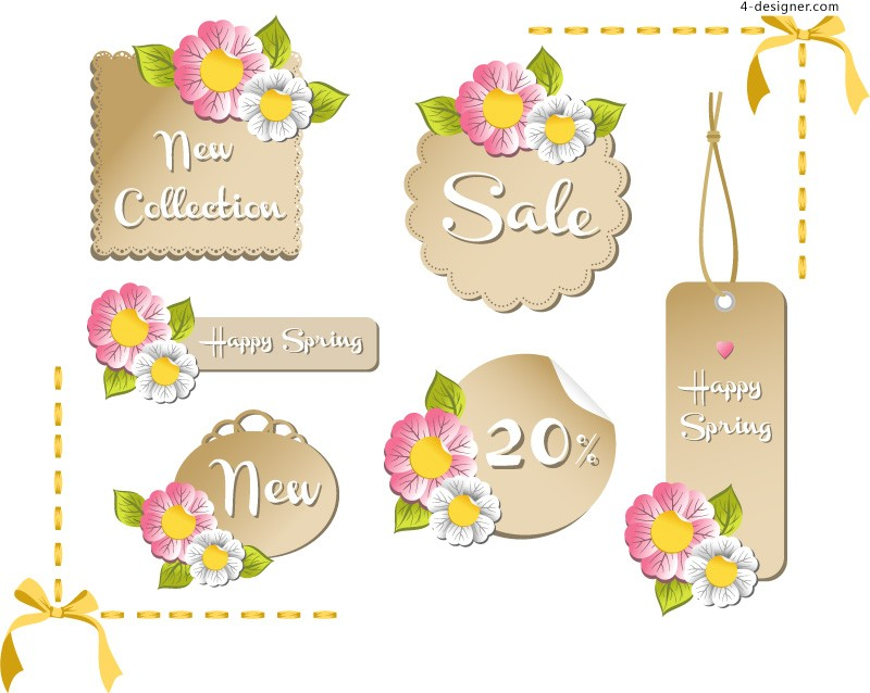 Flower shaped discount label vector material