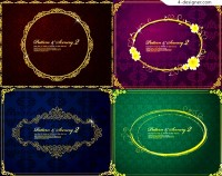 Four color classic pattern border vector material