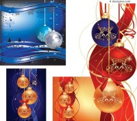 Four exquisite Christmas hanging ball EPS vector materials