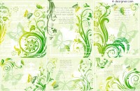 Fresh and Stylish green plant butterfly pattern vector material
