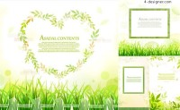 Fresh green leaves decorative border vector material