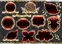 Gold crystal texture pattern ornate border vector material