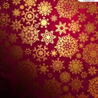Golden snowflake pattern background vector material