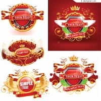 Gorgeous banner badge vector material