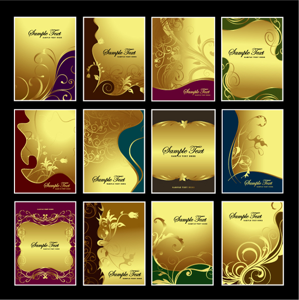Gorgeous fashion gold pattern background vector material