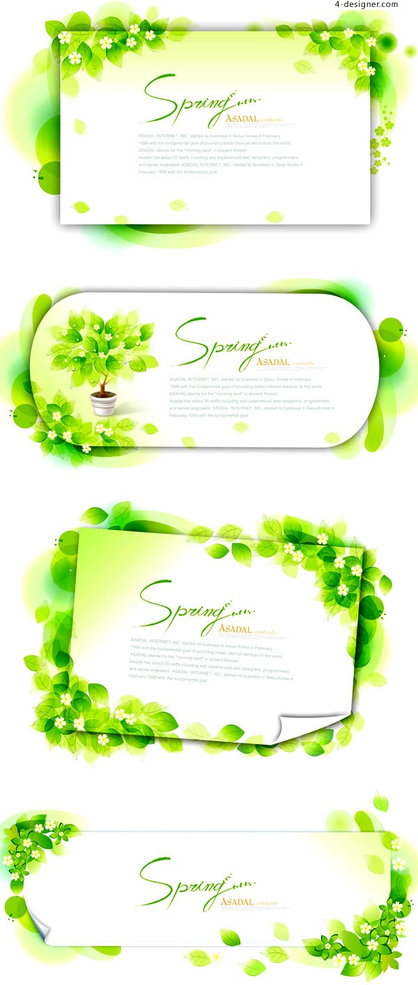 Green leaves letterhead lace vector material