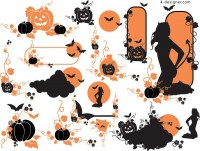Halloween doodle style vector material