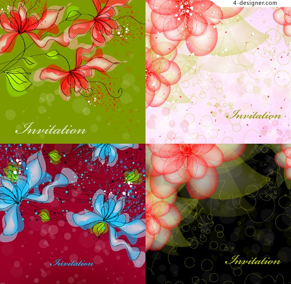 Hand painted floral patterns background vector fantasy material