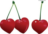 Heart shaped keychain and cherry jewelry vector material