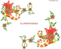 Korean style exquisite Christmas boots AI vector material