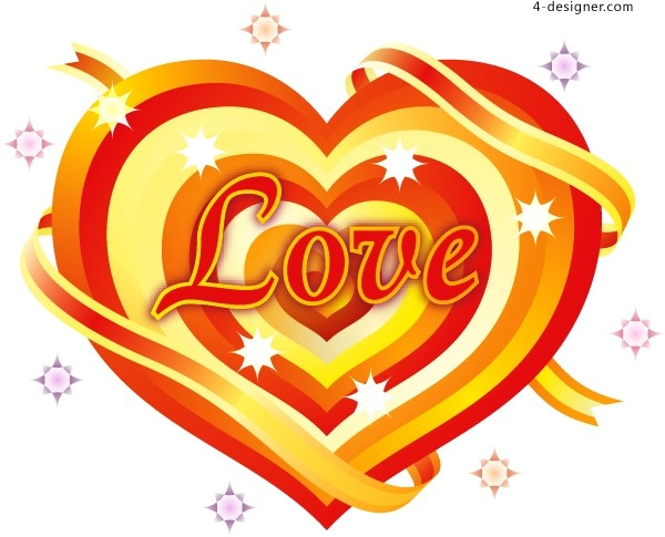 LOVE exquisite heart shaped pattern vector material