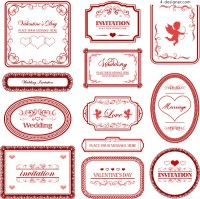 Love theme pattern border vector material