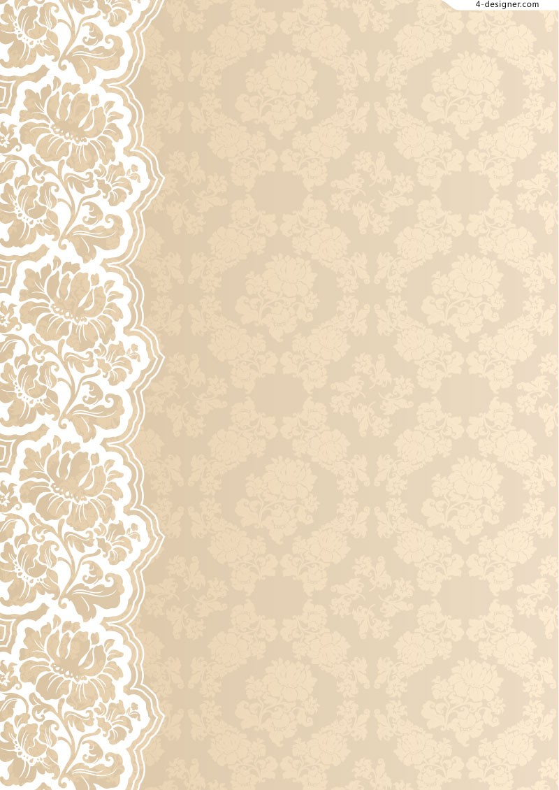 Ornate lace background vector material