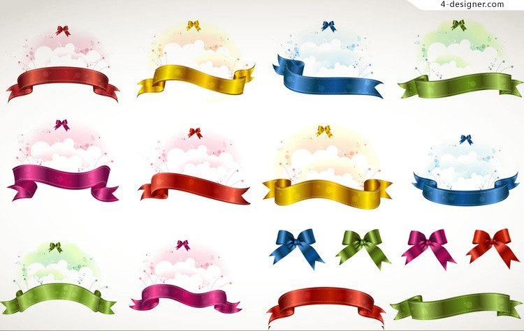Ribbon bow design vector material