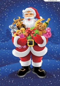 Santa Claus giving gifts to children vector material
