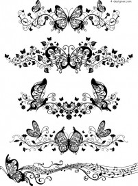 Several beautiful butterfly pattern EPS vector material