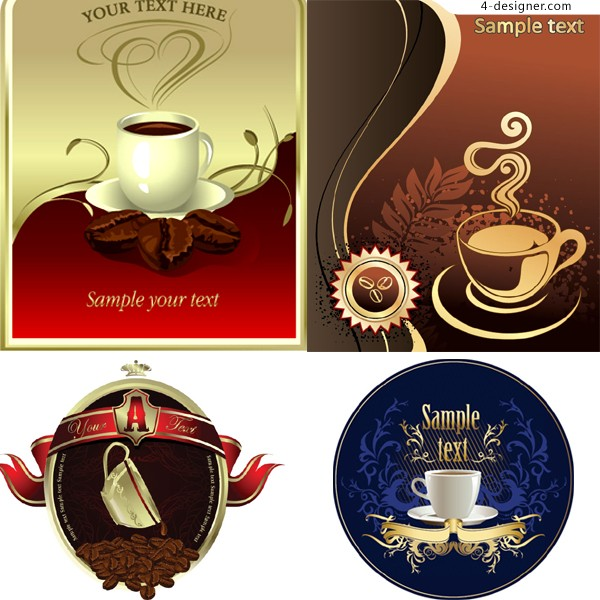 Several fine coffee advertising posters vector material