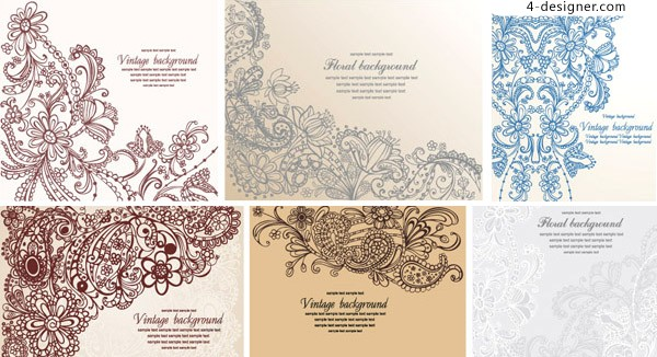 Stylish hand painted pattern vector material