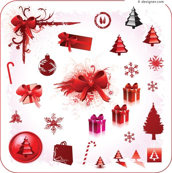 Three Christmas element vector materials