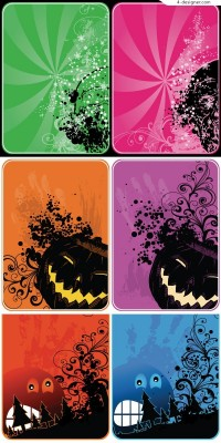 Three Halloween bookmark vector materials
