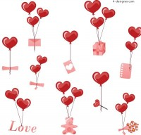 Valentine s Day blessings balloons vector material