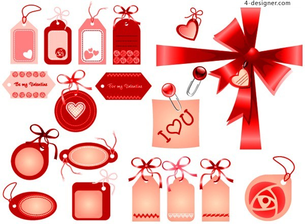 Variety listed with cute red bow vector material