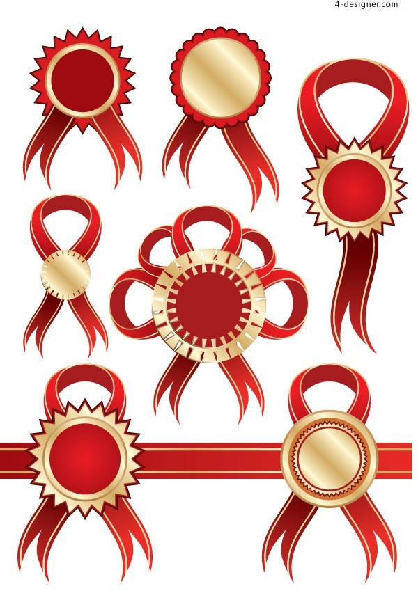 4-Designer | Variety of classic red ribbon badge vector material