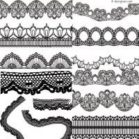 Variety of practical black and white lace vector material