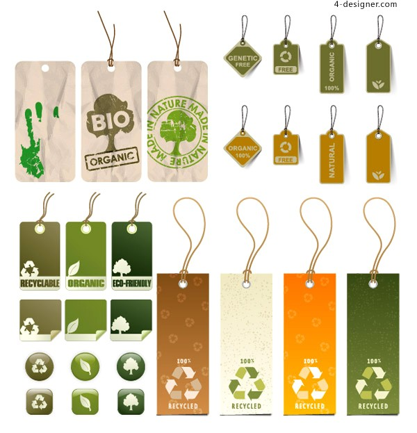 Variety of practical environmental icon vector material tag